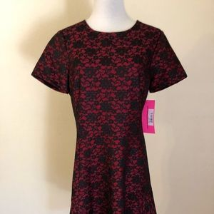 Betsy Johnson black lace on red  dress size 10